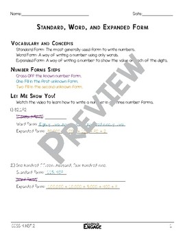 Standard, Word, and Expanded Form Math Video & Worksheet