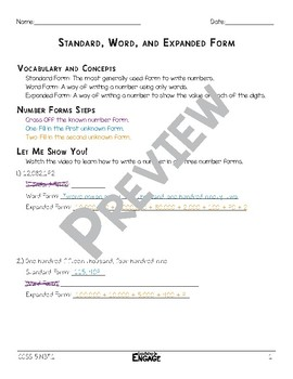 Standard, Word, and Expanded Form Math Video and Worksheet