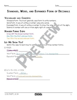 standard word and expanded form of decimals math video and worksheet