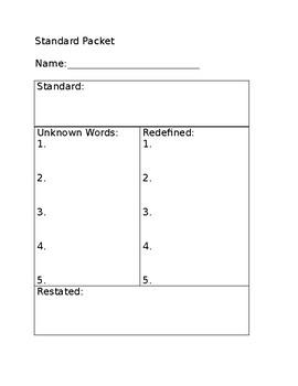 Standard Worksheet