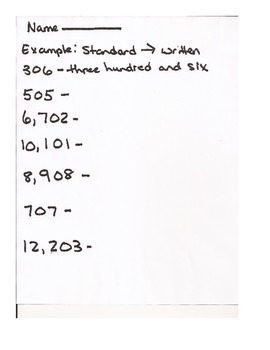 Standard and Written Form Numbers Lesson Plan Worksheets Assessment