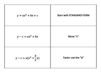 Standard Form to Vertex Form Mix 'n Match