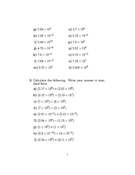 Standard form (worksheet with detailed solutions)