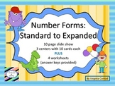 Standard to Expanded Form--4 digits--centers, slide show, and worksheets