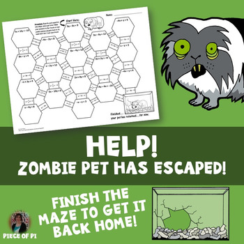 Standard to Slope Intercept Form Maze Zombie Theme