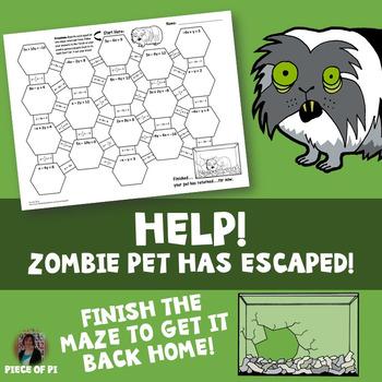 Standard to Slope Intercept Form Maze Zombie Theme