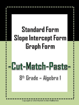 Standard to Slope Intercept Form and Graph - Cut & Paste A