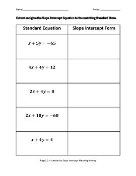 Standard to Slope Intercept Matching Activity