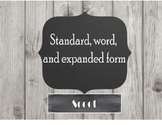 Standard, word, and expanded form scoot