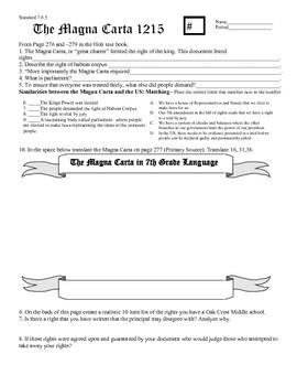 Magna Carta Worksheet Teaching Resources Teachers Pay Teachers