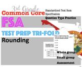 3rd Grade Standardized MATH TEST prep Trifolds: Rounding (FSA style questions)