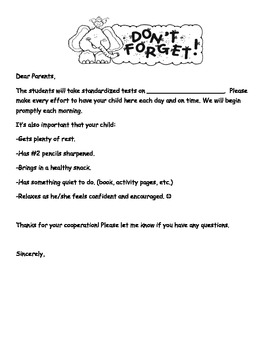 Standardized Test Letter for Parents