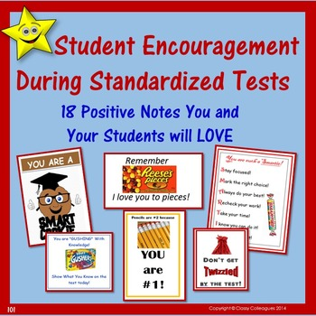 Student Encouragement Notes for Standardized Test Taking Motivation