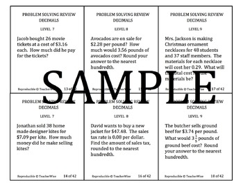 Real World Problem Solving Review Task Cards: Decimals (+, -, x, ÷, converting)