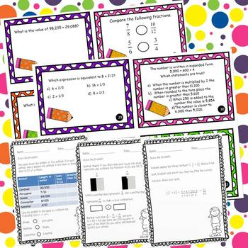 4th Grade *Test Prep* Task Cards and Printables For Entire Year CCSS