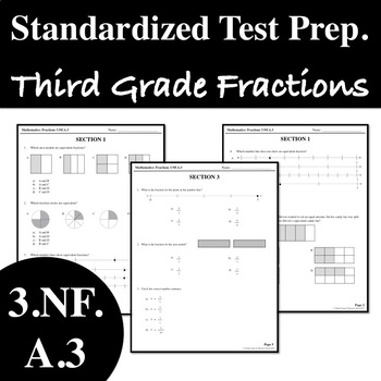 Standardized Test Prep - Third Grade Math - Fractions - 3.NF.A.3