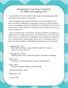 Standardized Test Prep Vocabulary for Language Arts and Math - CC Aligned