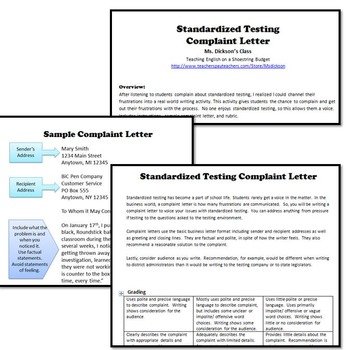 Standardized Testing Complaint Letter (A Real-World Writing Activity)