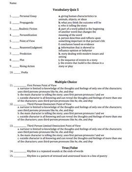 Standardized Testing Test Review Vocabulary Unit
