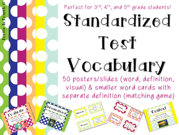 ELA Test Vocabulary Posters, Cards, Matching Game
