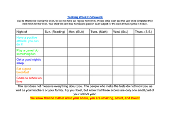 Standardized Testing Week Homework: Positive Thoughts!