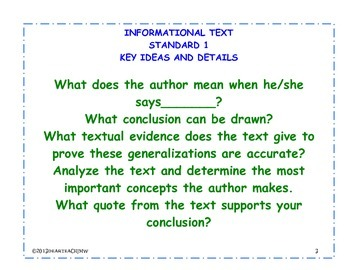 Standards 1-9 for Grade 6 Informational Text