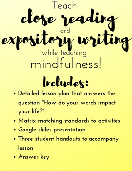 Mindfulness Close Reading & Expository Writing Practice