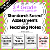 3rd Grade Math Assessments - Common Core - Teaching Notes - Print and Digital