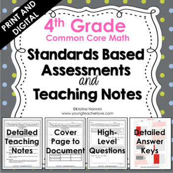 4th Grade Math Assessments - Common Core Aligned - Distance Learning