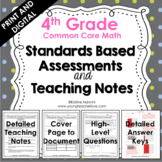 4th Grade Math Assessments - Common Core - Teaching Notes - Print and Digital