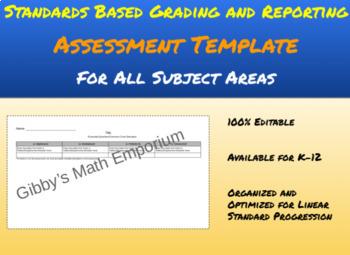 Standards Based Assessment Template