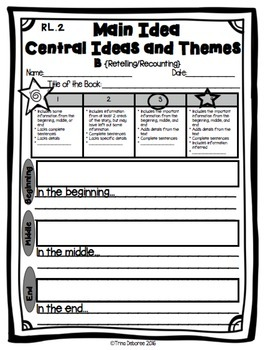 Standards Based Assessment: Main Idea and Central Theme