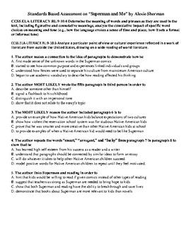"Standards Based Assessment ""Superman and Me"" Alexie Sherman RL 9-10.4 RL9-10.6"