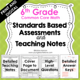 6th Grade Math Assessments - Common Core - Teaching Notes - Print and Digital