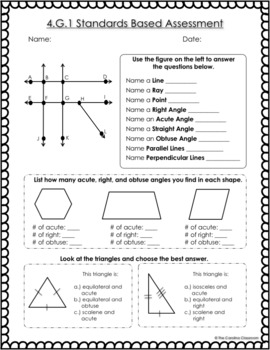 4th Grade Common Core Math Standards Based Assessments