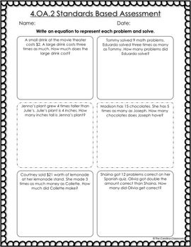 Operations and Algebraic Thinking- 4th Grade Common Core Math Assessments