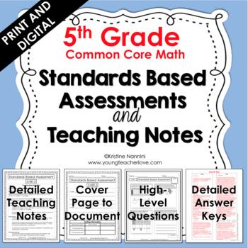 5th Grade Math Assessments - Common Core Aligned - Math