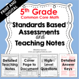 5th Grade Math Assessments - Common Core - Teaching Notes - Print and Digital