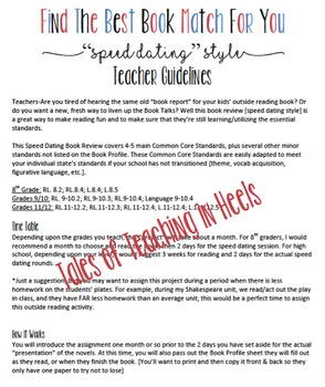 Standards-Based Book Review Project--Speed Dating Style