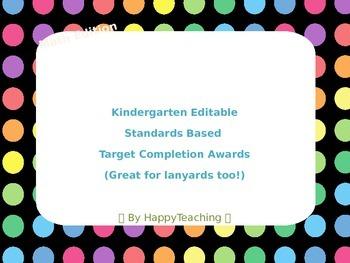Standards Based Common Core Kindergarten Math Acheivment Lanyards
