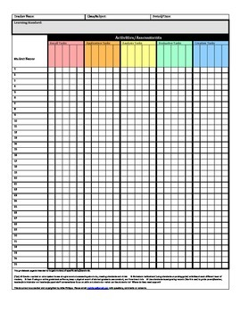 Standards Based Grade Book Page