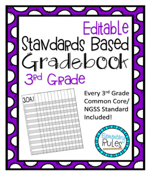 Editable Standards Based Gradebook 3rd Grade Math, Language Arts, and Science