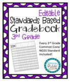 Editable Standards Based Gradebook 3rd Grade Math, Languag