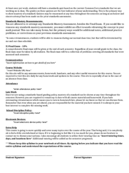 Standards Based Grading Algebra 1 Syllabus Template