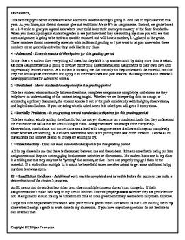 Standards Based Grading Explanation Letter to Parents