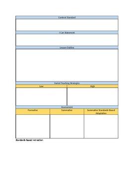 Standards Based Instruction, Assessment, and Grading Lesson Plan