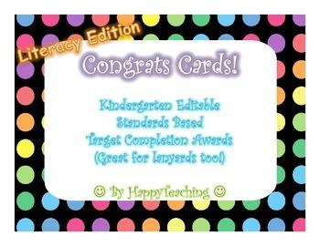 Standards Based Literacy Target Achievement Lanyard Certificates