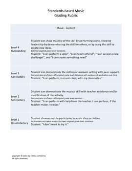 Standards Based Music Grading Rubric