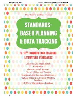 Standards-Based Planning and Data Tracking for 9-10th CC Reading Literature