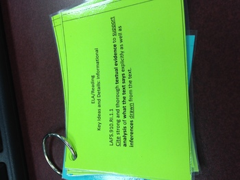 Standards Based Questions Cue Cards